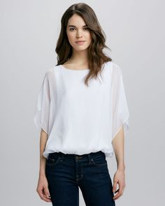 Alice + Olivia Strayla Batwing Top, White