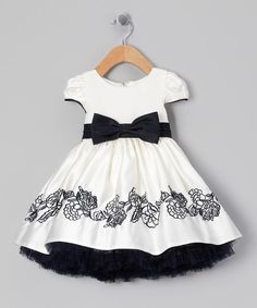 Pretty Me White & Navy Bow Embroidered Dress - Infant | zulily