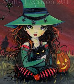 Halloween  Witch and Cat Fine Art Giclee Print by MollyHarrisonArt