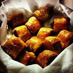I searched high and low, got the best and made it better - enjoy what I consider the best sausage roll on the planet - it is heavenly and gluttonous and yum Mince Recipes, Pastry Recipes, Sausage Recipes, Gourmet Recipes, Appetizer Recipes, Cooking Recipes, Buffet Recipes, Bacon Sausage, Yummy Appetizers