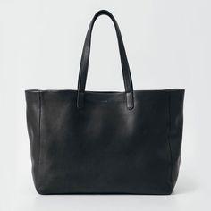BAGGU Oversize Leather Tote Black