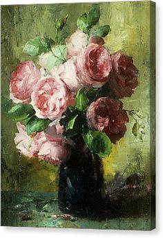 Pink Roses In A Vase Canvas Print by Frans Mortelmans