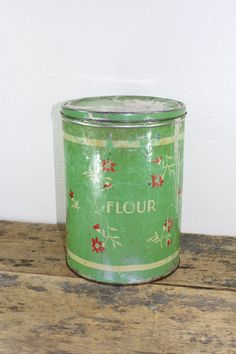 Green Floral Tin Flour Canister