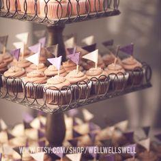 Wedding decor.  Cupcake flags.  Hand made with fabric. www.etsy.com/shop/WellWellSwell #wedding #weddingdecor #rusticwedding #cupcakes #cupcakedecor #flags #fabricflags #cutedecor  Photo: Brad Rankin
