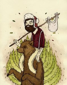 bear back ride...gouache and acrylic illustration from Nas Chompas....this explains it all.