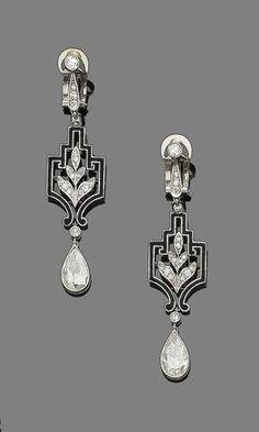 A pair of art deco diamond and enamel pendant earrings,