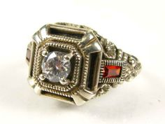 Estate Sterling Filigree Topaz & Ruby Ring  by GranvilleGallery