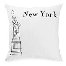image of Passport Postcard New York Square Throw Pillow in Black/White