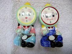 VINTAGE PY JAPAN RARE CLOCK HEAD ANTHROPOMORPHIC SALT AND PEPPER SHAKERS