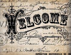 Antique Paris Welcome Postmark Label Script by AntiqueGraphique Script, Vintage Paris, Hobbies And Crafts, Welcome, Illustration, Vintage World Maps, Graphic Design, Lettering, Etsy