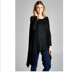 NEW! Black asymmetrical long sleeve jersey top Super soft t-shirt top with asymmetrical hem throughout . This is long enough to wear with leggings or your favorite skinnies. One size fits most. 96% rayon 4% spandex. Price is firm. April Spirit Tops Tees - Short Sleeve