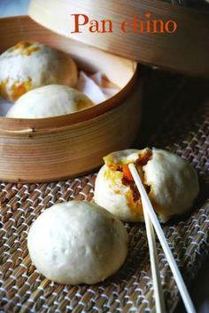 CHEZ SILVIA: Pan chino relleno de pollo. Horno vapor y horno multifunción.
