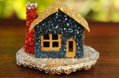 Vintage 50s-60s Glitter Putz House Christmas by SycamoreVintage