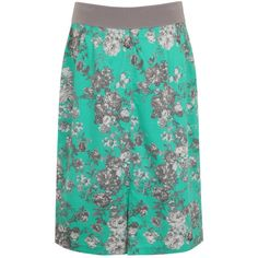 Elvi Plus Size Turquoise Floral Skirt ($47) ❤ liked on Polyvore featuring skirts, clearance, turquoise, floral print skirt, plus size skirts, elvi, womens plus size skirts and floral knee length skirt