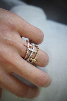 Sideways Cross Ring Rose Gold at Kellinsilver – rose gold band ring, rose gold stackable ring, rose gold stacking ring