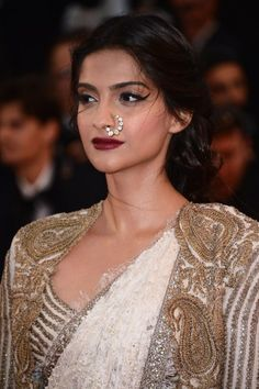 The 'nath', or simply put, the nose ring. Sonam Kapoor dazzled at Cannes; would you dare wear such a statement piece at your wedding? :) #indian #bride