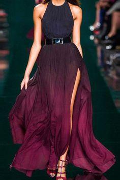 Gradient Ramp High Slit Pleated Maxi Chiffon Halter Dress OASAP.com