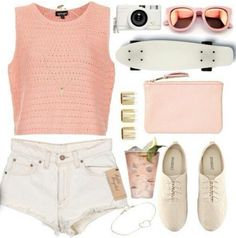 Summer Outfit ♡ Love this outfit but minus the penny board as I don't skateboard but the rest is adorable :)