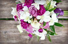 Purple wedding bouquet, add in sunflowers