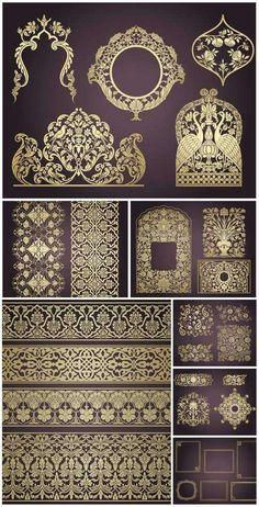 Indian ornaments and design elements vector 7 files Surf Design, Design Design, Indian Patterns, Textures Patterns, Pattern Art, Pattern Design, Motif Art Deco, Ornaments Design, Islamic Art