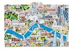 London cityscape illustration by Debbie Ryder Prints