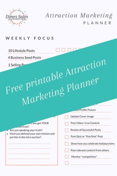How do you market your or business on social media without being spammy? With Attraction Marketing. Go behind the scenes with this video and grab the free printable >> Direct Marketing, Business Marketing, Marketing Ideas, Media Marketing, Direct Sales Tips, Direct Selling, Business Pages, Business Ideas, Printable Planner