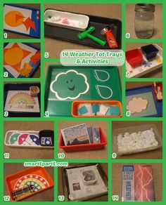 WEATHER themed tot school activities! Includes tissue paper cloud craft and sun paper piecing activity done with the Silhouette Cameo!