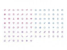 105 stroke icons in 3 volumes