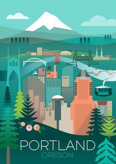 PORTLAND, OREGON POSTER Visit Portland, Portland Oregon, Romantic Vacations, Romantic Travel, Romantic Getaway, Oregon Travel, Travel Usa, Backpacking Oregon, Oregon Hiking