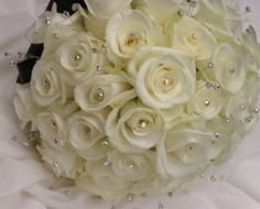 White roses and diamante by Orchard Designs