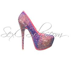 Coral Pink Purple Rhinestone Encrusted Platform Pumps $79.99 Use code SexC10 for 10% off the entire site