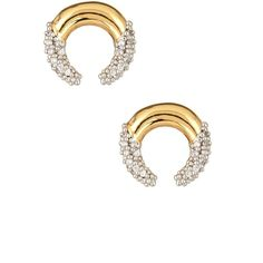 Rachel Zoe Sophia Dipped Pave Crescent Earrings ($25) ❤ liked on Polyvore featuring jewelry, earrings, gold, rachel zoe, stud earrings, post earrings, pave stud earrings and gold tone earrings