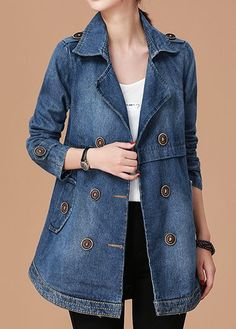 Long Sleeve Notch Collar Button Embellished Denim Coat, Blue Coat Long Sleeve Notch Collar Button Embellished Denim Coat,jackets for women ,coats & jackets ,denim jacket Coat Outfit, Coat Dress, Denim Mantel, Mode Mantel, Swing Coats, Denim Coat, Fashion Mode, Outerwear Women, Fall Winter Outfits