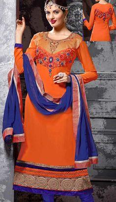 Beautiful Latest Orange Georgette Churidar Kameez Party Wear Dresses,