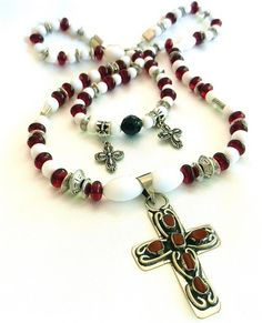 Handmade Silver Cross with Hand Cut Red Agate Beads Pendant Necklace | craftsofthepast - Jewelry on ArtFire
