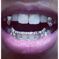 Jewels: grillz spiked teeth grill, golden, vampire, teeth, bling,... ❤ liked on Polyvore featuring home and home improvement