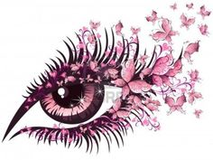 Illustration of Beautiful female eye with butterflies vector art, clipart and stock vectors.