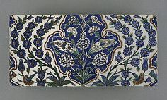 Origin: Turkey, Iznik, Ottoman | Period: last quarter of the 16th century | Collection: The Phil Berg Collection (M.71.73.37a-b) | Type: Ceramic; Architectural element, Fritware, underglaze painted in red, blue, green and black, 8 x 19 in. (20.32 x 48.26 cm)