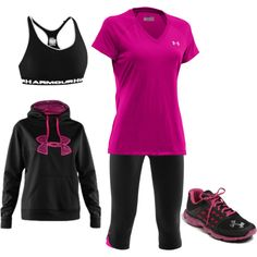 """""""Under Armour Running- Pink"""" under Armour is great workout gear or wear it so people think you keeping your exercise goals! Sporty Outfits, Athletic Outfits, Cute Outfits, Gym Outfits, Fitness Outfits, Workout Attire, Workout Wear, Nike Workout, Workout Outfits"""