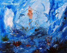 """Acrylic on Canvas"" Code: Mermaid Underwater My YouTube Channel:  https://www.youtube.com/user/KoutrasArt"