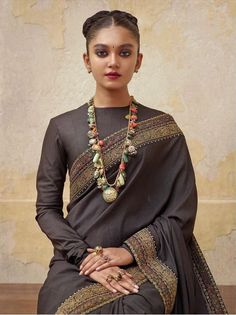 Dark grey sabyasachi saree with full sleeve blouse Full Sleeves Blouse Designs, Saree Blouse Neck Designs, Gharara Designs, Sabyasachi Sarees, Indian Sarees, Bridal Lehenga Collection, Saree Poses, Indian Bridal Fashion, Saree Look