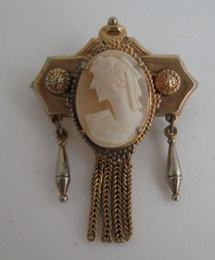 VICTORIAN ETRUSCAN REVIVAL GOLD WASHED SHELL CAMEO TASSEL DANGLE PIN