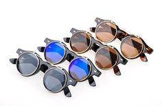 Free ShippingHot Selling  2013 New Vintage Retro Steampunk Mens Sunglasses Costume Round Circle Flip Up Women Sunglasses Boy $4.99