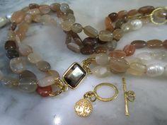 Perlenketten - TOM K Collier Chunky Kette Edelsteine Mondsteine - ein Designerstück von TOMKJustbe bei DaWanda