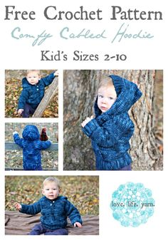 Crochet For Babies Comfy Cabled Hoodie - Free Crochet Pattern Mode Crochet, Crochet Bebe, Crochet For Boys, Knit Crochet, Crochet Children, Ravelry Crochet, Crochet Hoodie, Crochet Cardigan, Crochet Toddler Sweater