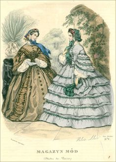 1860 fashion plate. The folds on the brown dress are interesting.
