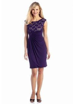 Connected Apparel  Petite Sleeveless Faux Wrap Dress with Sequin Bodic