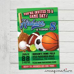 Game Day Invitation Sports Field All Star Invitation Gameday Invite Sport Birthday Party - Digital File Supplied by ImaginationInvites on Etsy