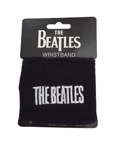 The Beatles Logo Black Terry Sports Wristband - Licensed New on Card