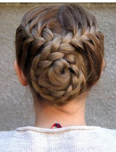 Braided back bun hairstyle …